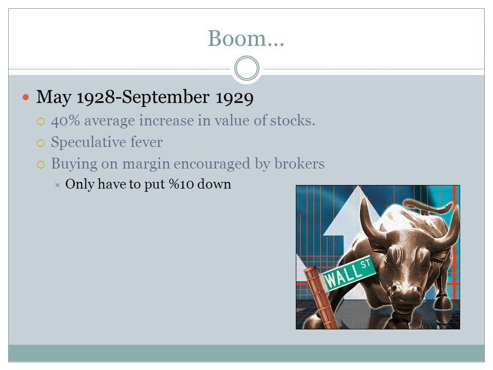 Boom… May 1928-September 1929 40% average increase in value of stocks.