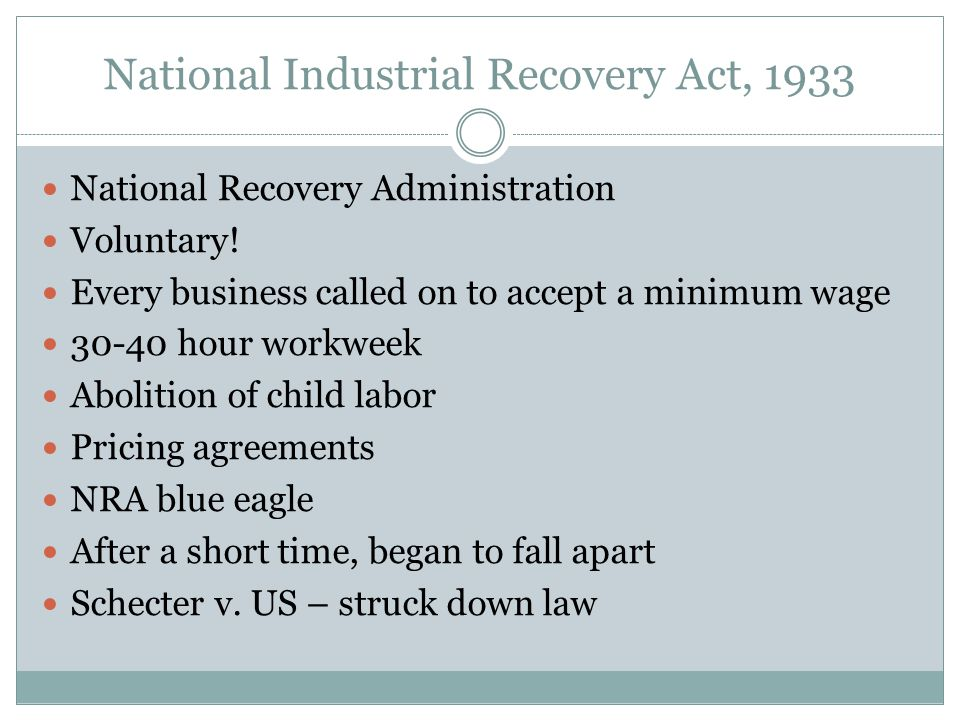 National Industrial Recovery Act, 1933