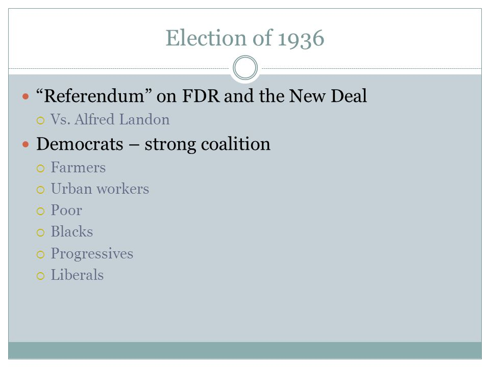 Election of 1936 Referendum on FDR and the New Deal