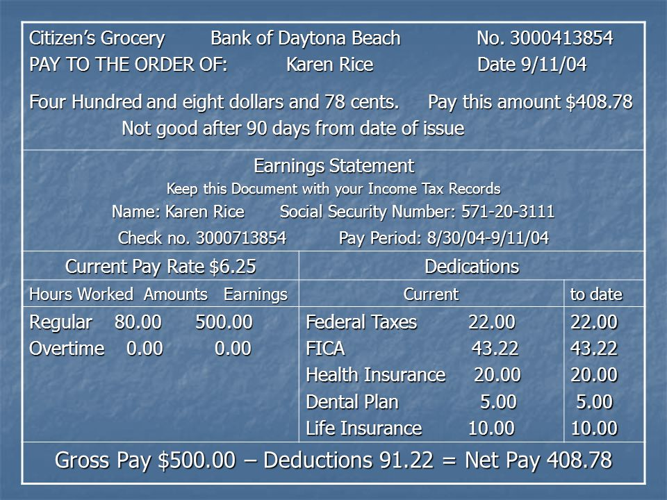 Gross Pay $500.00 – Deductions 91.22 = Net Pay 408.78