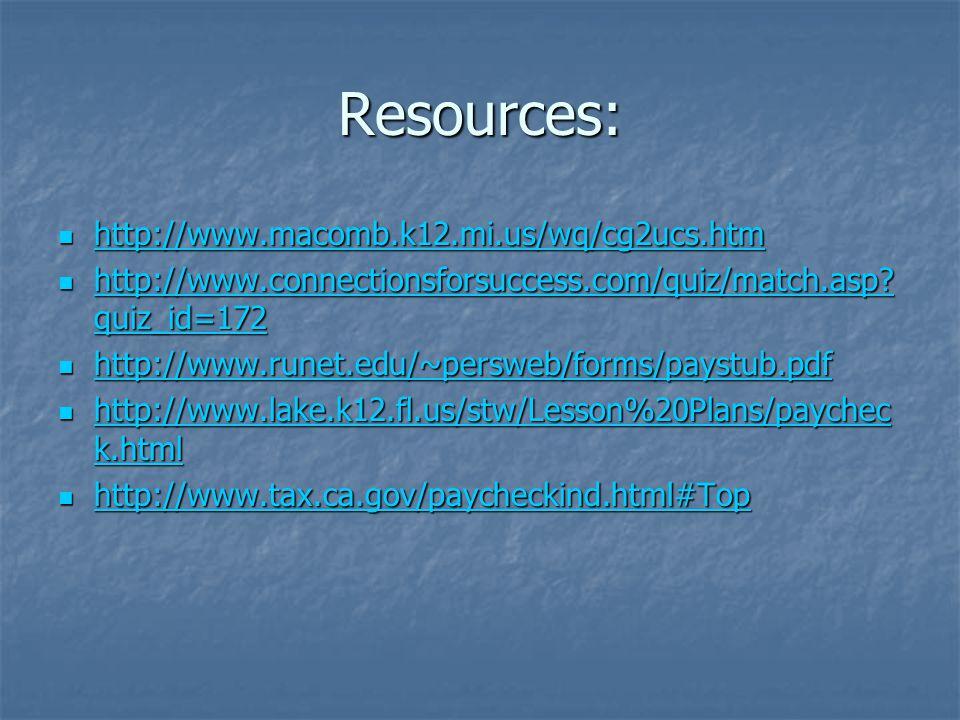 Resources: http://www.macomb.k12.mi.us/wq/cg2ucs.htm