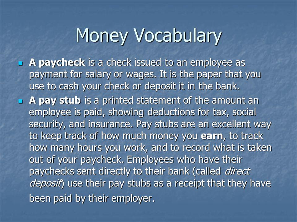 Money Vocabulary