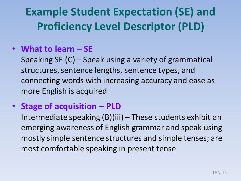 Example Student Expectation (SE) and Proficiency Level Descriptor (PLD)