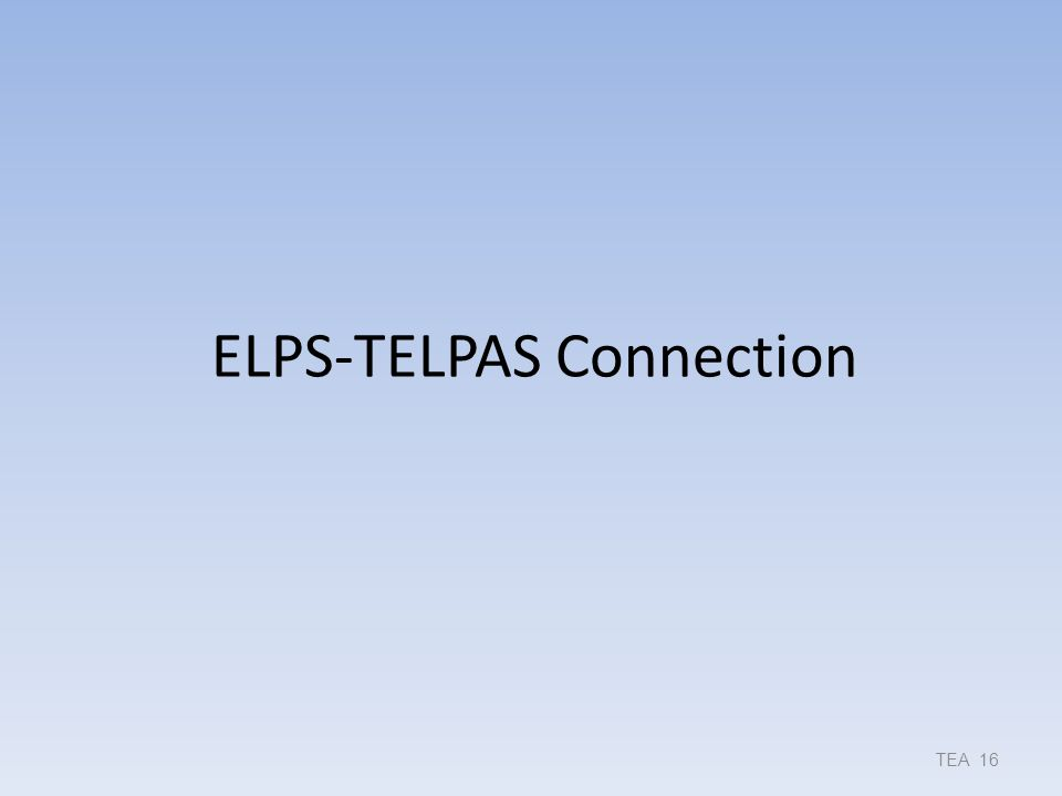 ELPS-TELPAS Connection