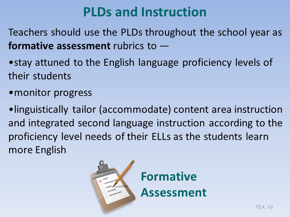 PLDs and Instruction Formative Assessment