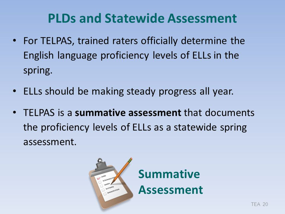 PLDs and Statewide Assessment