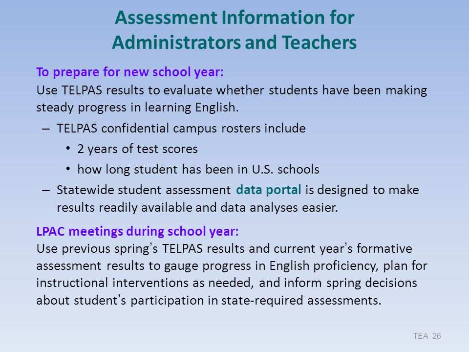 Assessment Information for Administrators and Teachers