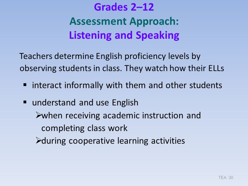 Grades 2–12 Assessment Approach: Listening and Speaking