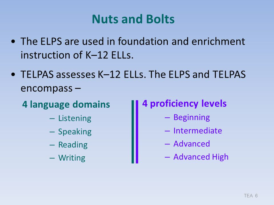 Nuts and Bolts The ELPS are used in foundation and enrichment instruction of K–12 ELLs. TELPAS assesses K–12 ELLs. The ELPS and TELPAS encompass –