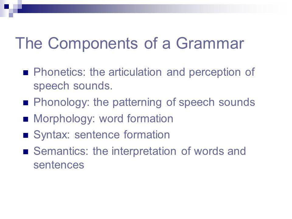 The Components of a Grammar