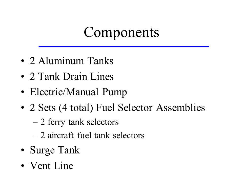Components 2 Aluminum Tanks 2 Tank Drain Lines Electric/Manual Pump