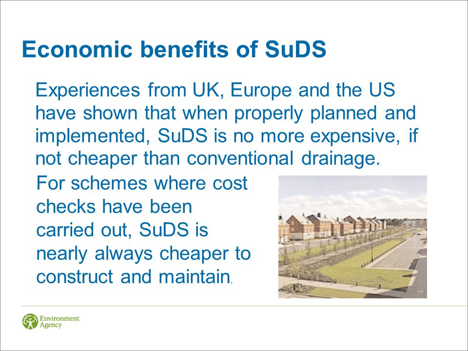 Economic benefits of SuDS
