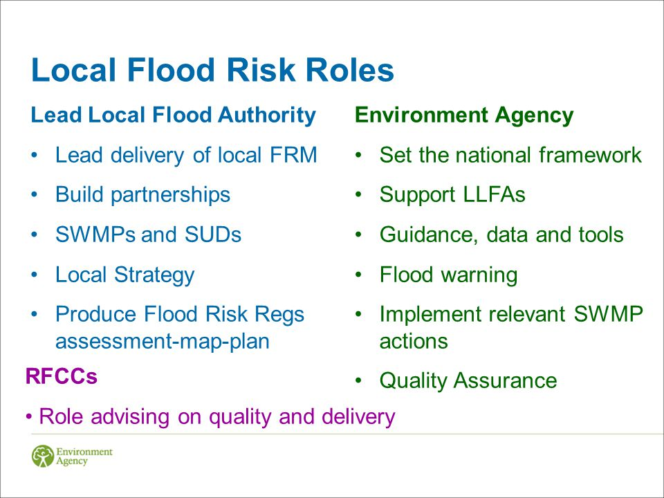 Local Flood Risk Roles Lead Local Flood Authority