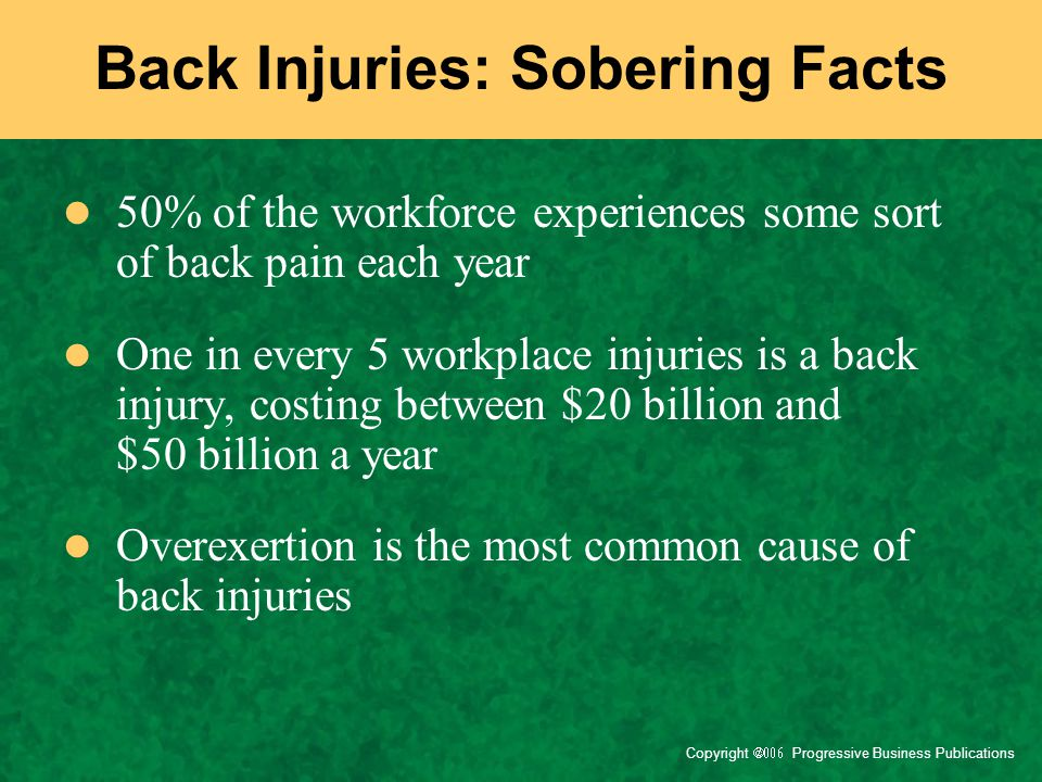Back Injuries: Sobering Facts