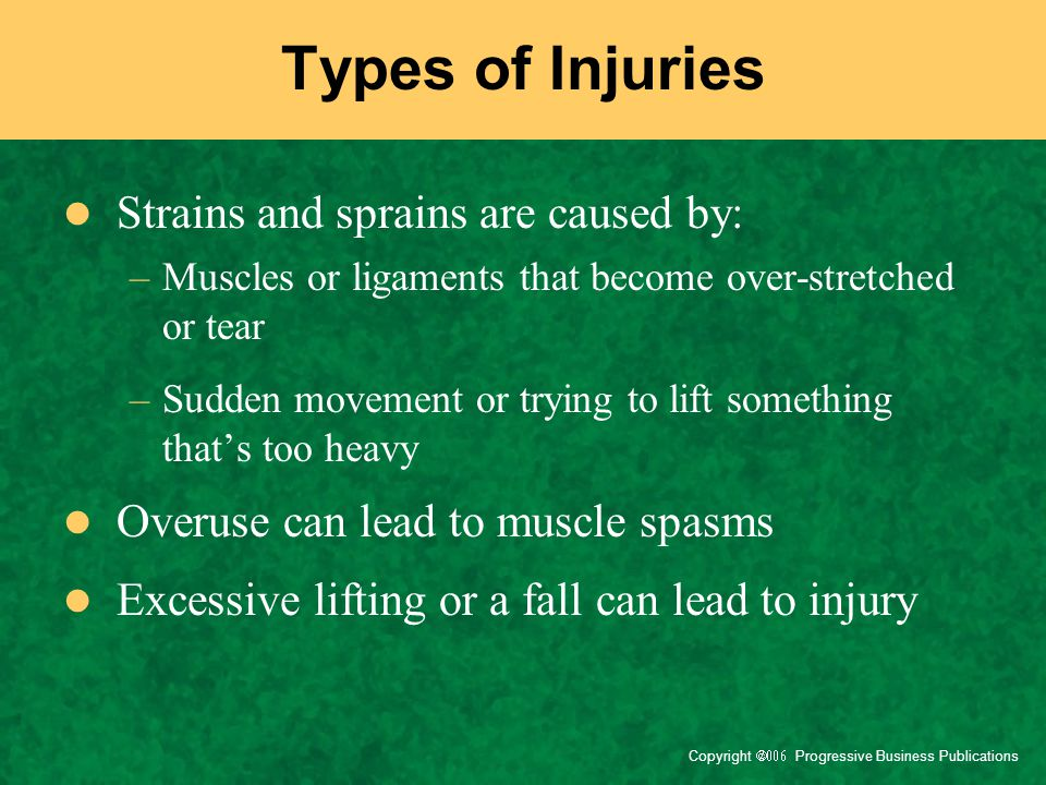 Types of Injuries Strains and sprains are caused by: