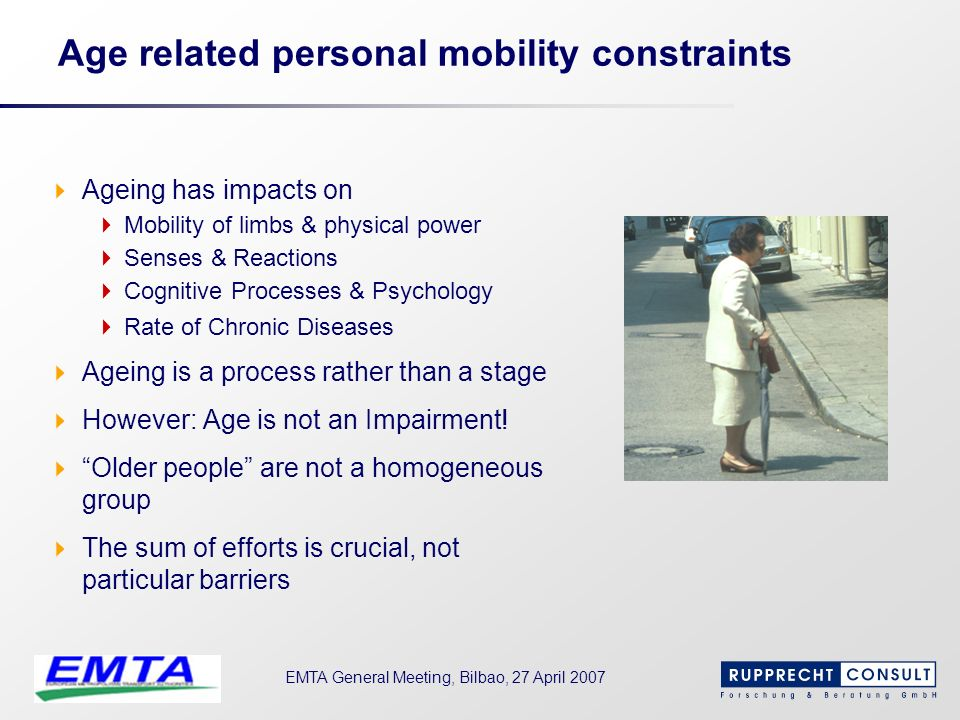 Age related personal mobility constraints