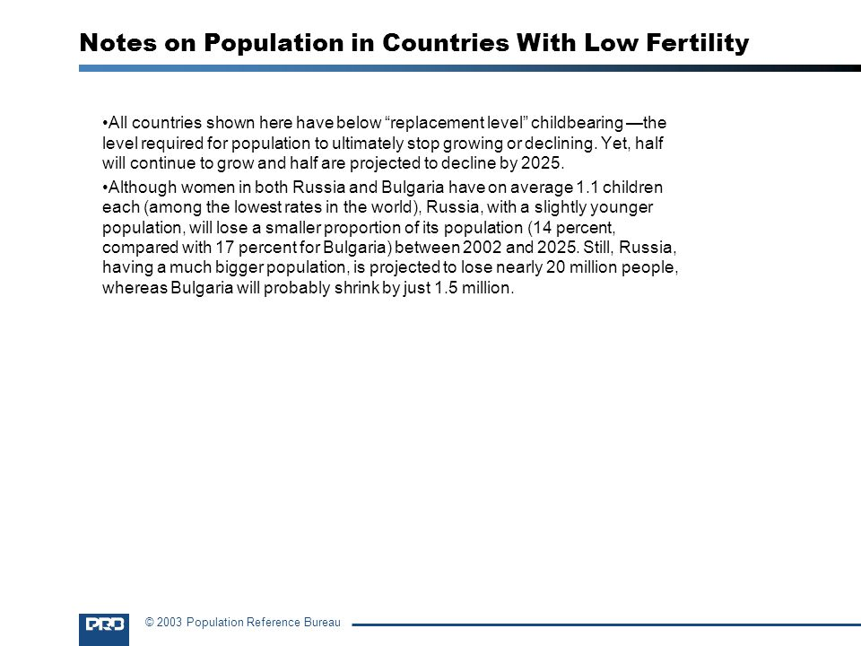 Notes on Population in Countries With Low Fertility