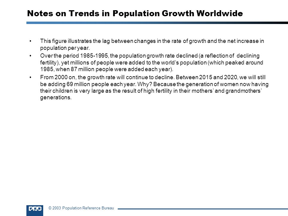 Notes on Trends in Population Growth Worldwide