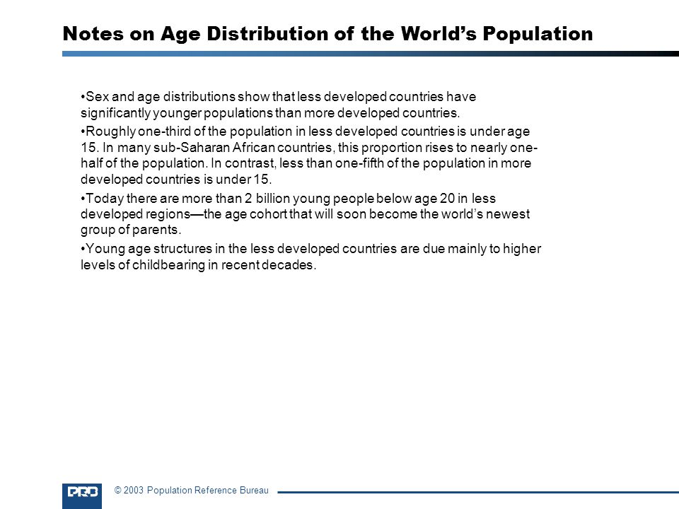 Notes on Age Distribution of the World's Population