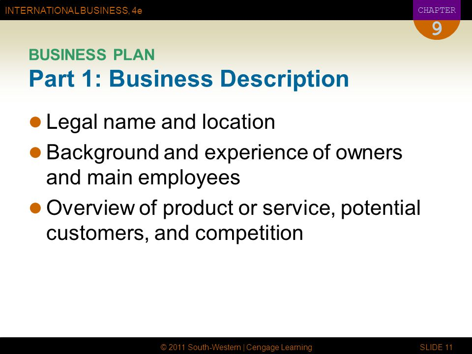 BUSINESS PLAN Part 1: Business Description