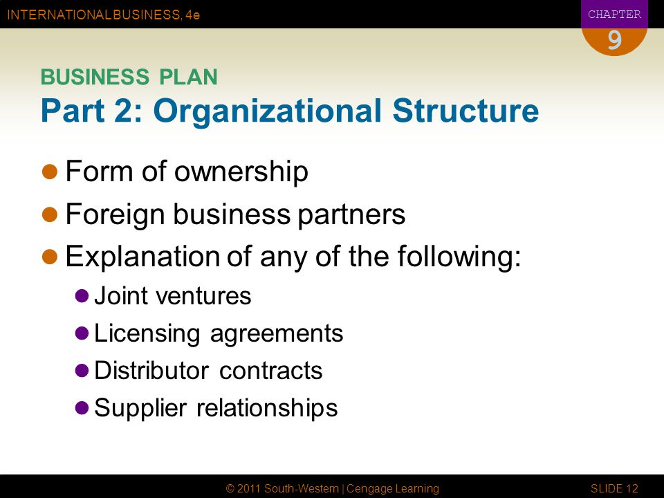 BUSINESS PLAN Part 2: Organizational Structure