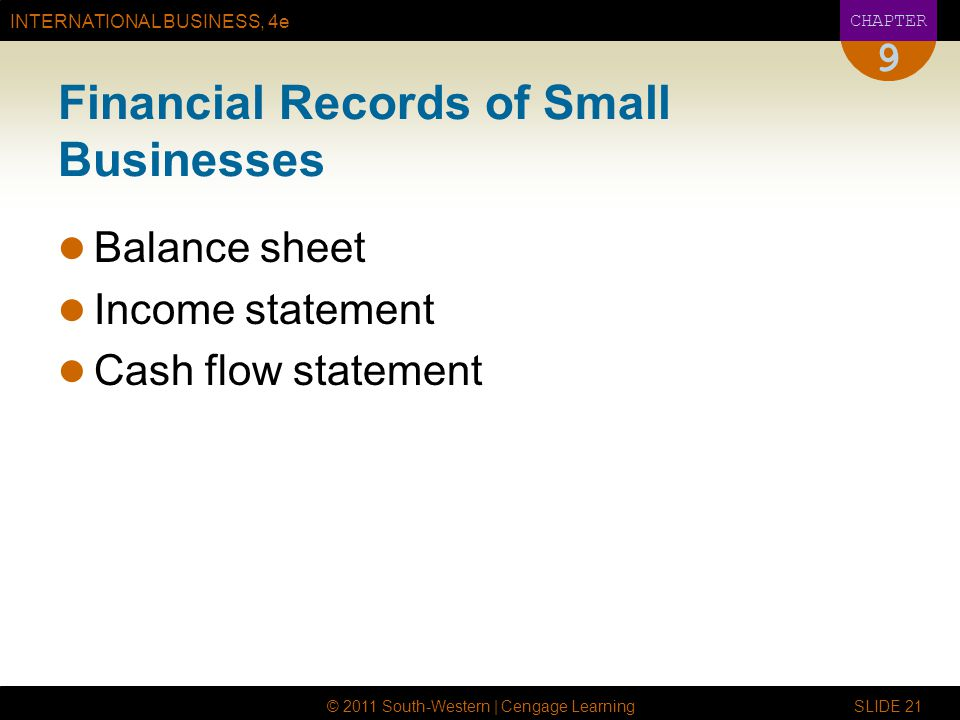 Financial Records of Small Businesses