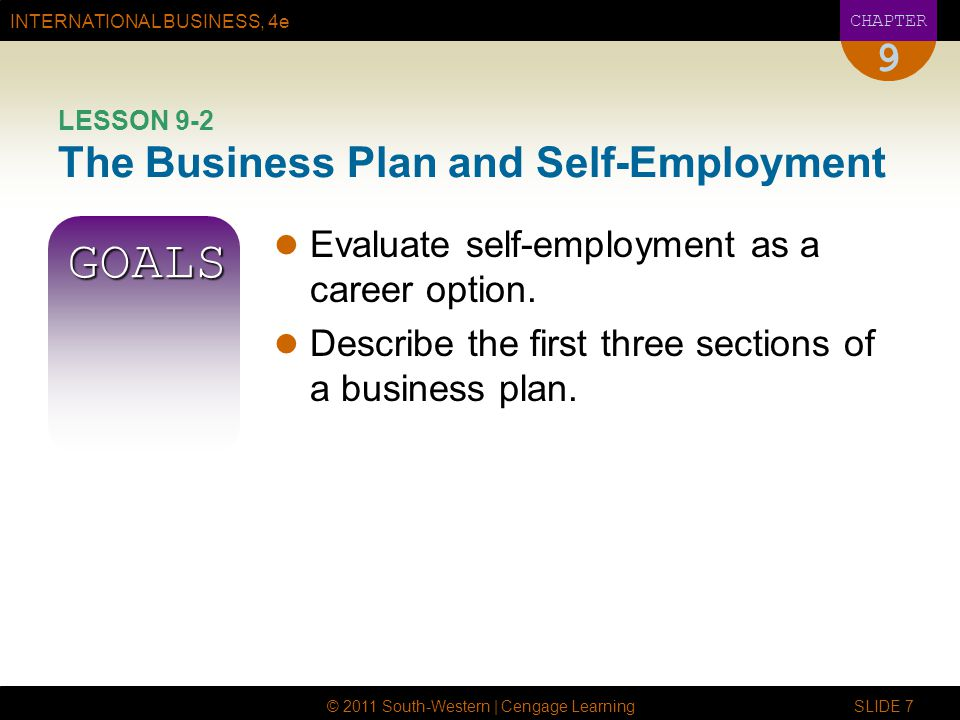 LESSON 9-2 The Business Plan and Self-Employment
