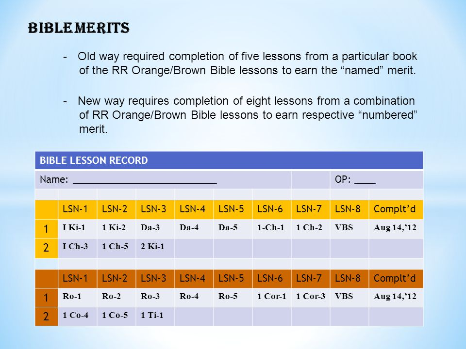 BIBLE MERITS Old way required completion of five lessons from a particular book. of the RR Orange/Brown Bible lessons to earn the named merit.