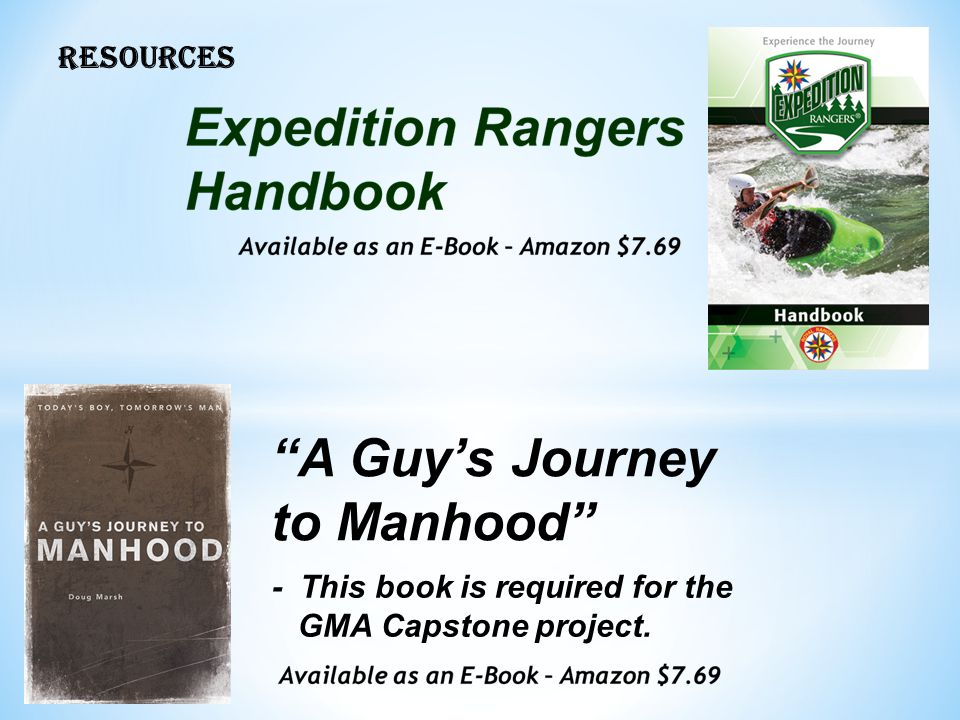 A Guy's Journey to Manhood RESOURCES - This book is required for the