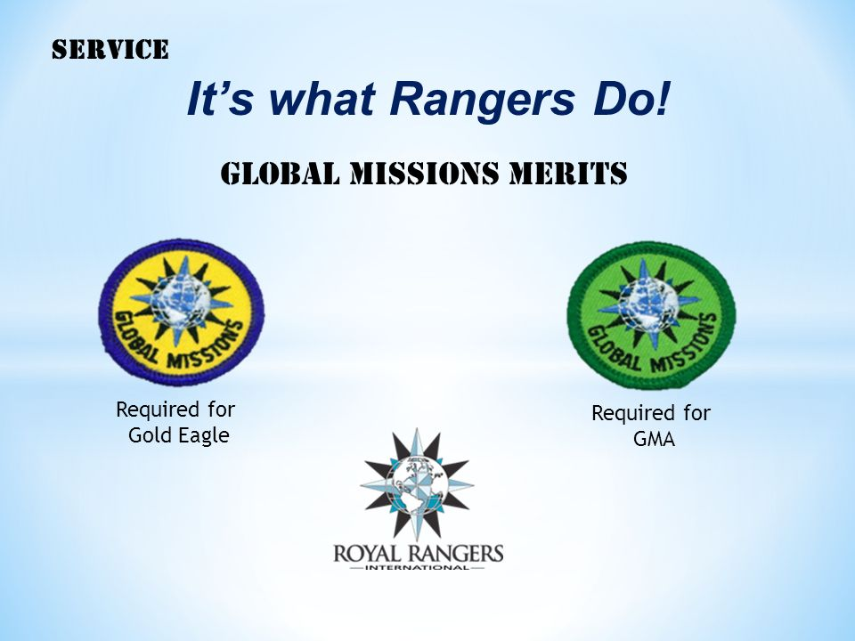It's what Rangers Do! Global missions merits SERVICE Required for