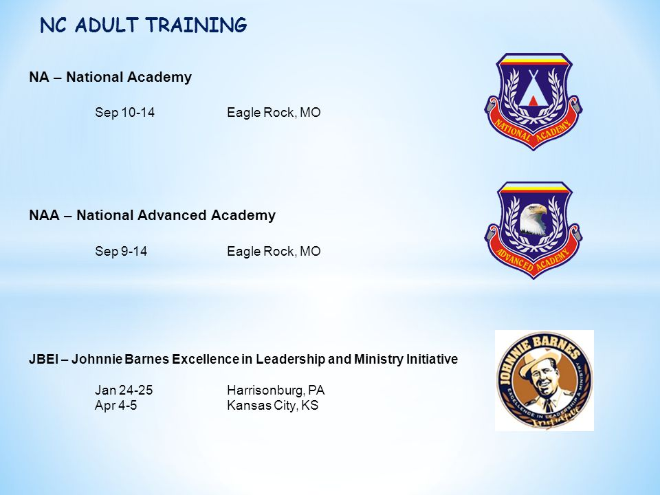 NC ADULT TRAINING NA – National Academy Sep 10-14 Eagle Rock, MO