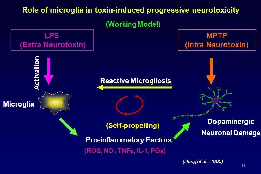 Role of microglia in toxin-induced progressive neurotoxicity