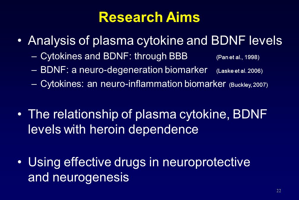 Research Aims Analysis of plasma cytokine and BDNF levels