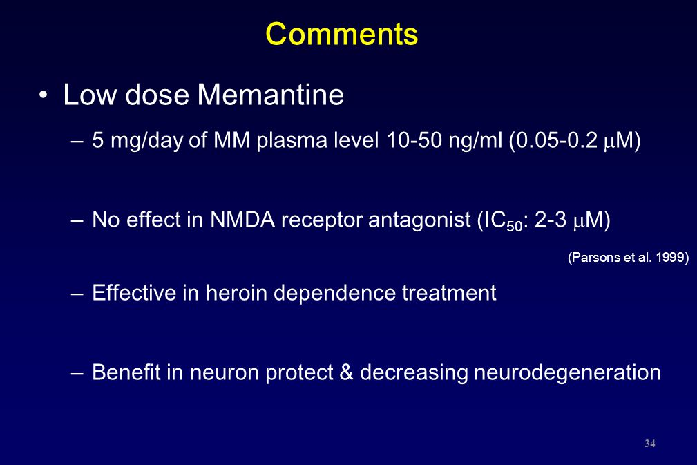 Comments Low dose Memantine