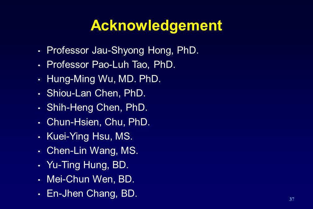 Acknowledgement Professor Jau-Shyong Hong, PhD.