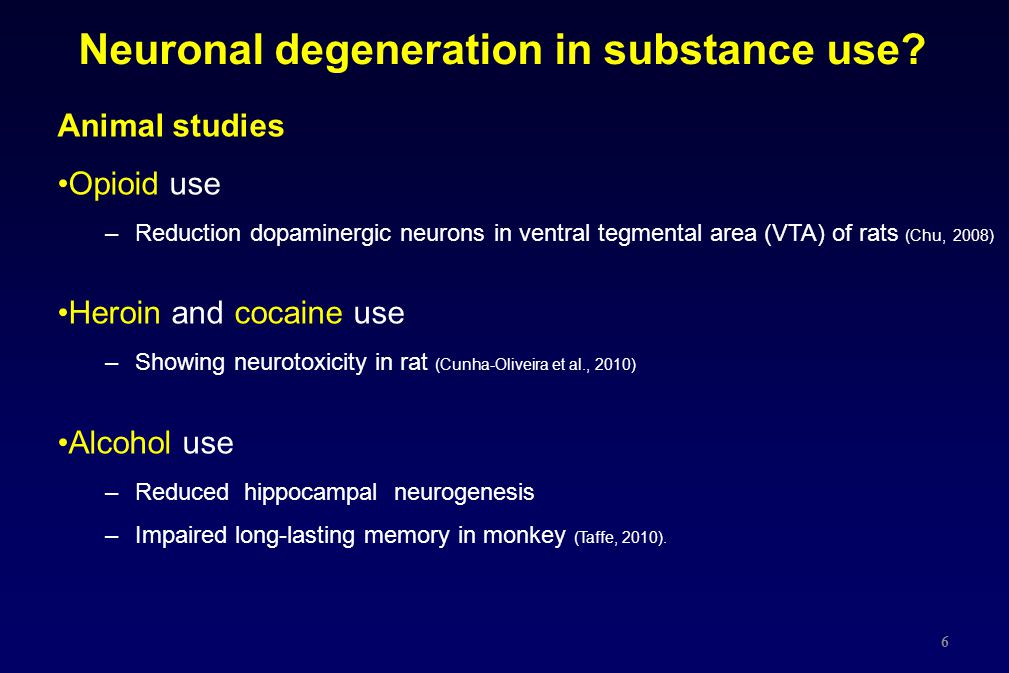 Neuronal degeneration in substance use