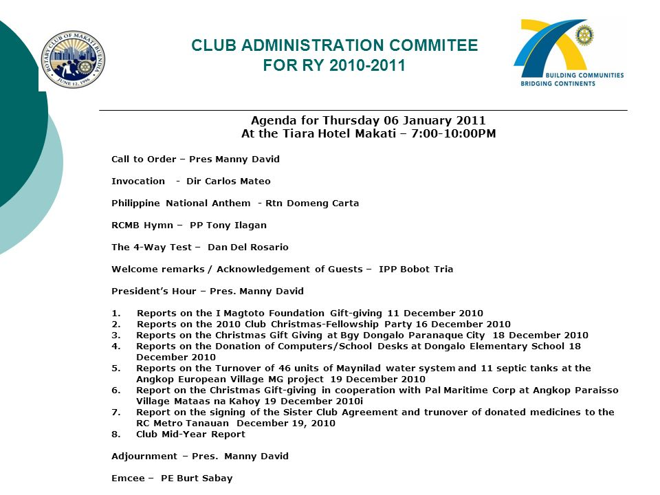 CLUB ADMINISTRATION COMMITEE FOR RY