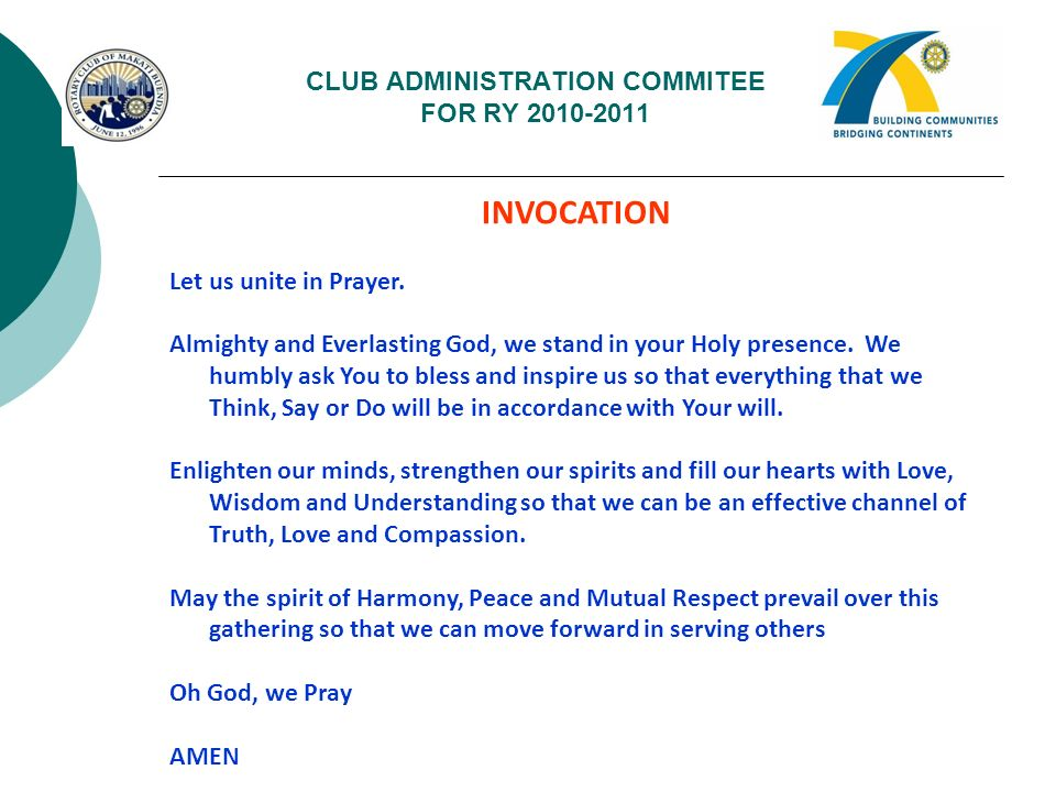 CLUB ADMINISTRATION COMMITEE FOR RY 2010-2011