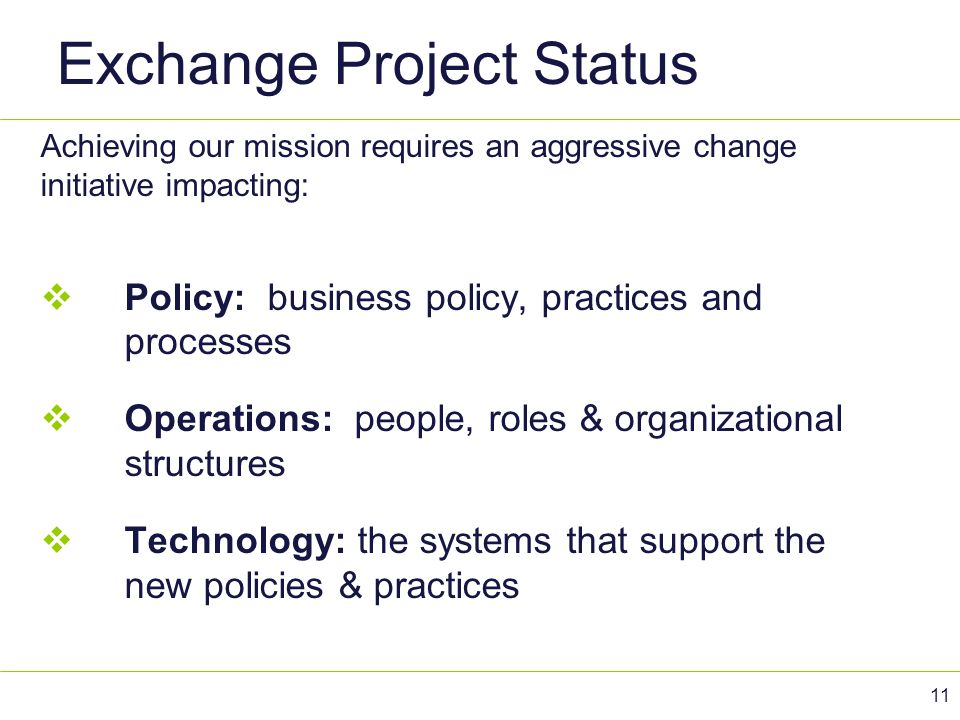 Exchange Project Status