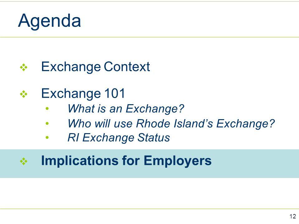 Agenda Exchange Context Exchange 101 Implications for Employers