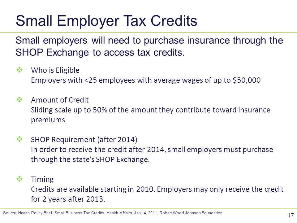 Small Employer Tax Credits