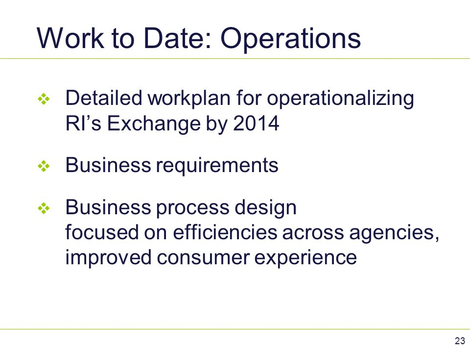 Work to Date: Operations