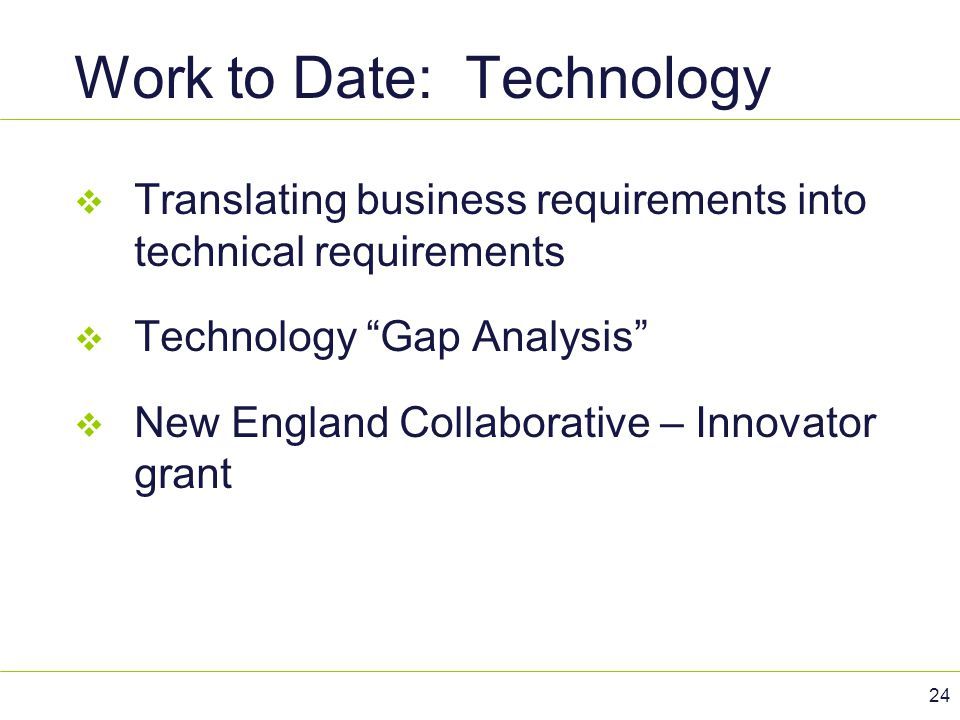 Work to Date: Technology