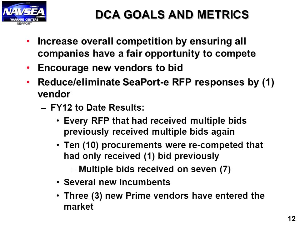 DCA GOALS AND METRICS Increase overall competition by ensuring all companies have a fair opportunity to compete.