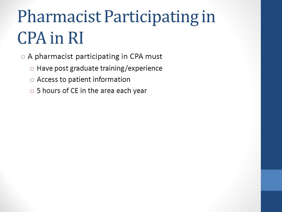Pharmacist Participating in CPA in RI