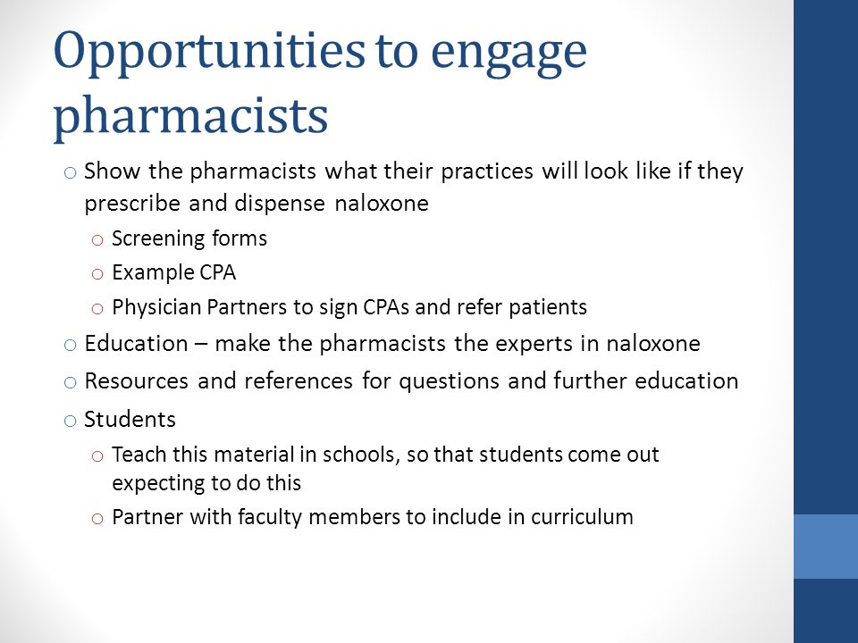 Opportunities to engage pharmacists