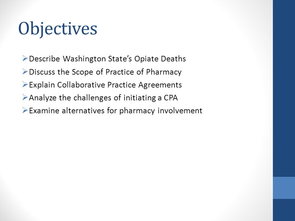 Objectives Describe Washington State's Opiate Deaths
