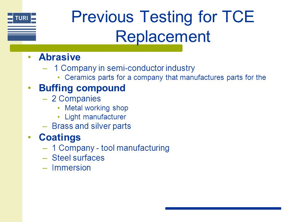 Previous Testing for TCE Replacement