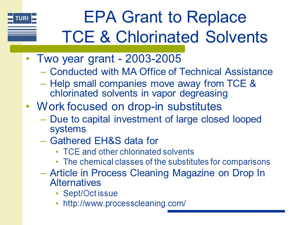 EPA Grant to Replace TCE & Chlorinated Solvents