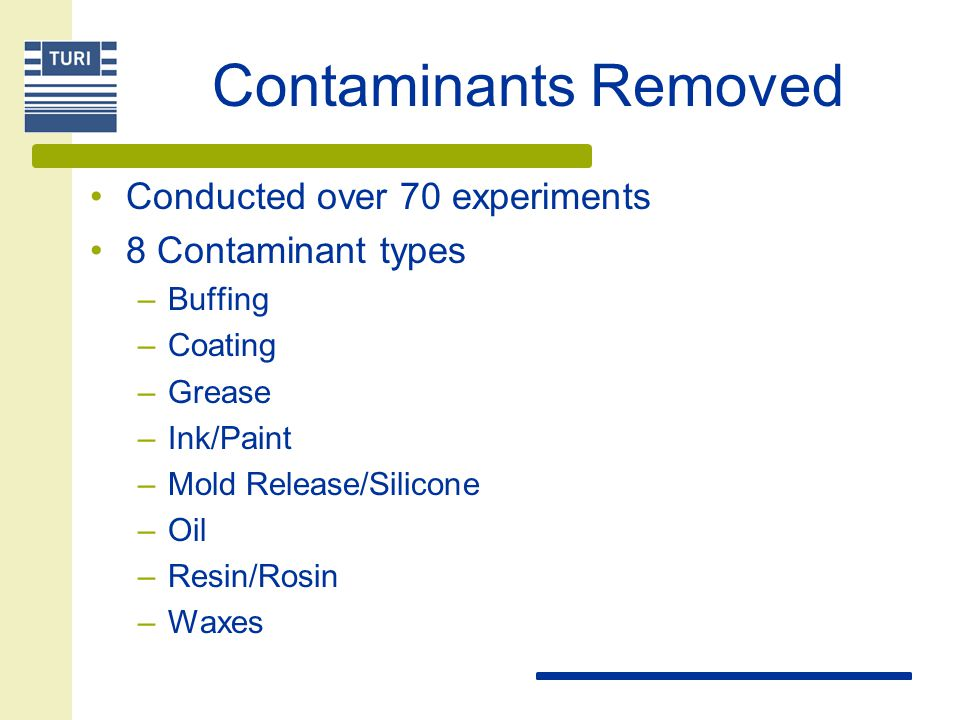 Contaminants Removed Conducted over 70 experiments 8 Contaminant types